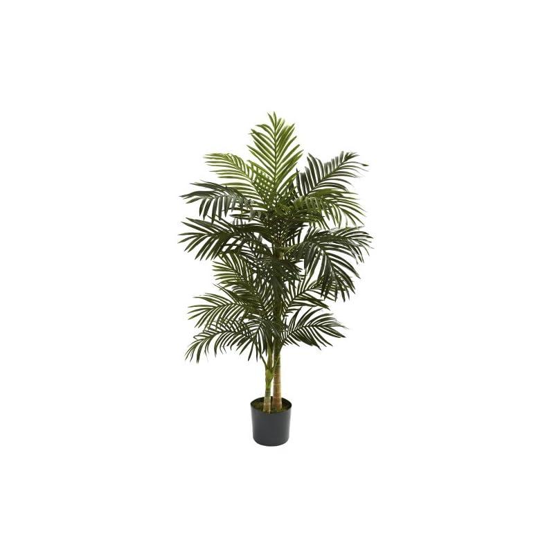silk flower arrangements nearly natural 5ft. golden cane palm artificial tree, green