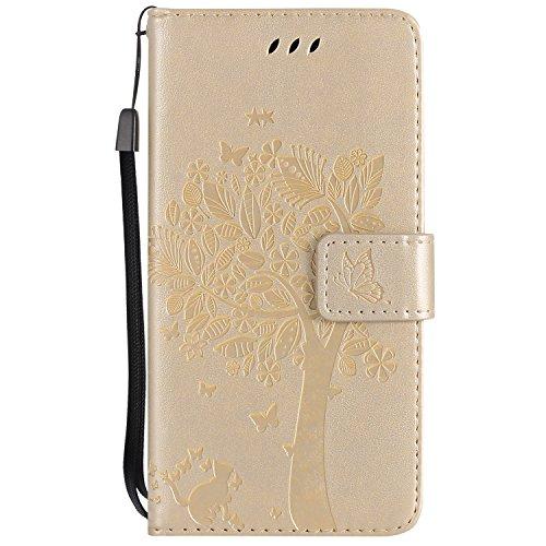 Nancen Compatible with Handyhülle Huawei P10 Lite/Nova Lite (5,2 Zoll) Flip Schutzhülle Zubehör Lederhülle mit Silikon Back Cover PU Leder Handytasche im Bookstyle Stand Funktion