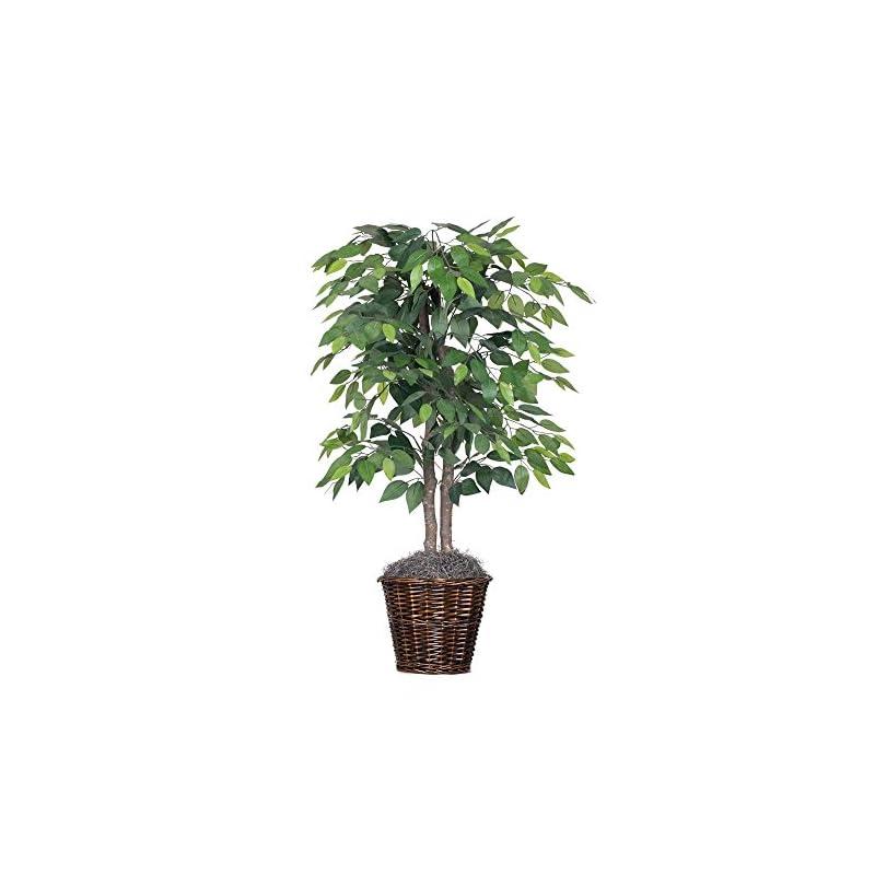 silk flower arrangements vickerman 4-feet artificial natural ficus bush with dark green leaves in decorative rattan basket