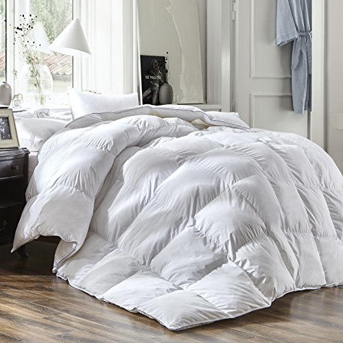 Luxury Queen Size White Goose Down Feather Comforter Duvet Insert Goose Down All Seasons 600 Thread Count Hypoallergenic 100% Cotton Shell Down Proof,Baffle Box Stitched.