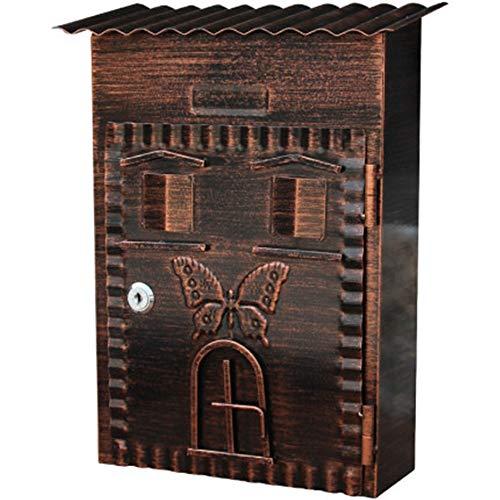 Subobo brievenbus voor wandmontage, achterkant Villa Letter Box Small Outdoor idilliaca Decoration Box brievenbus met hangslot eenvoudig te installeren