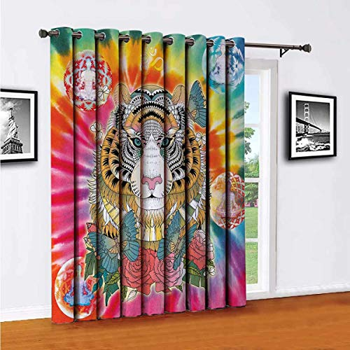 Animal Sliding door shades,patio curtains,Tiger Head with Ornaments Butterflies and Roses Human Figures Lotus Position Globes Insulated wide curtains/bedroom curtains(Single panel) W100 x L96 Inch Mu