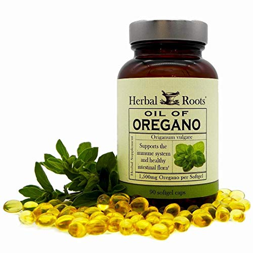 Herbal Roots Oil of Oregano - Made from Mediterranean Oregano Oil - 90 Easy to Swallow Softgel Capsules - Extra Strength 150 mg - Made in The USA