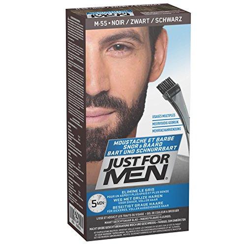 Just for men Moustache & Beard eliminiert Grau für einen dickeren und volleren Look - M55, Schwarz (Real Black)
