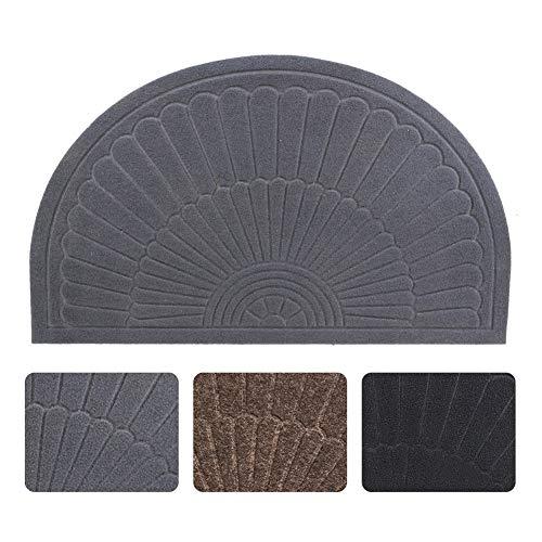 Half Round Door Mat Entrance Rug Floor Mats, Waterproof Floor Mat Shoes Scraper Doormat, 18''x30'' Patio Rug Dirt Debris Mud Trapper Out Door Mat Low Profile Washable Carpet