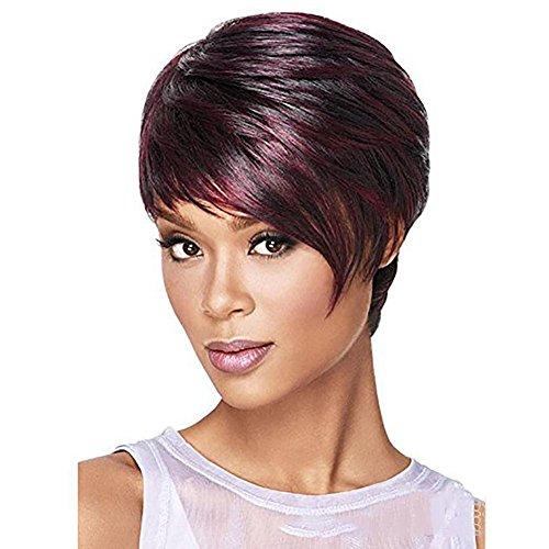 QQHair Kurze Art und Weise Rotwein Perücke etwas flaumige lockige wellenförmige Perücken Hochtemperaturfaser Synthetisches Haar für Frauen Dame drehen Oben Kurze Haar-Perücke