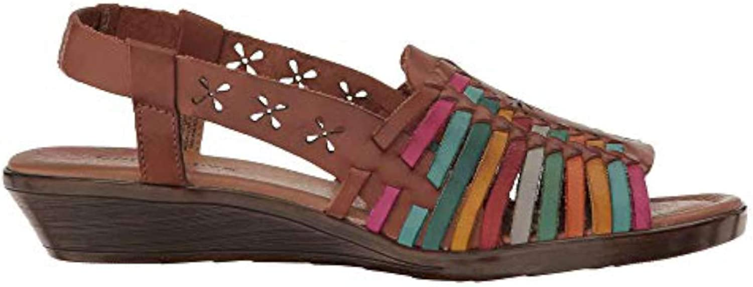 Comfortiva Womens Formosa Leather Open Toe Casual Platform Sandals