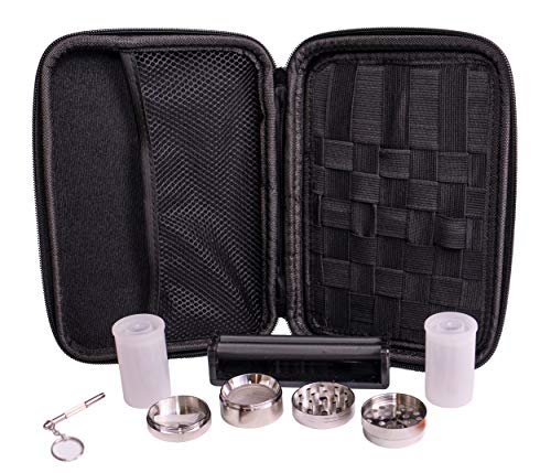Perfect Pregame Smoker's Kit - Including 1.6 inch Herb Grinder, Rolling Machine, Airtight Containers and Multitool