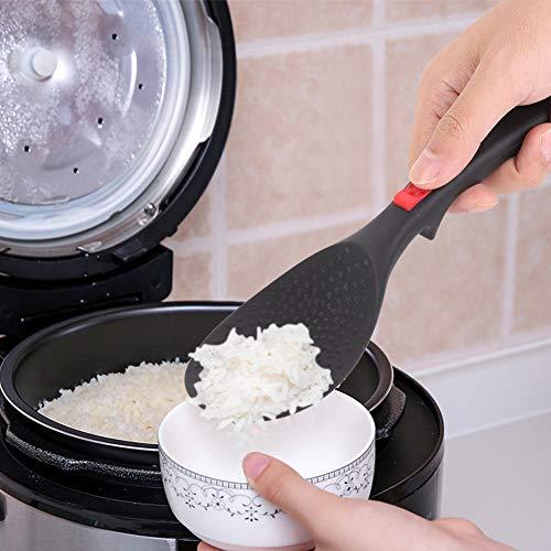 Huairdum Espátula de arroz con Mango de Silicona, Paleta de arroz, con Orificio para Colgar Negro para Utensilios de Cocina domésticos(Rice Scoop)