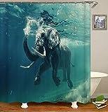 Duschvorhang Duschvorhang Textil Polyester Stoff Elefant Im Wasser Wasserdicht Schimmelwiderstandsfähig Maschinenwaschbar Mit Haken Badvorhänge Anti-Bakteriell-180x200cm