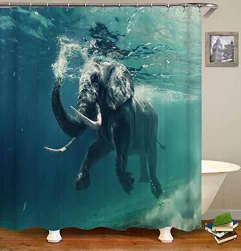 Duschvorhang Duschvorhang Textil Polyester Stoff Elefant Im Wasser Wasserdicht Schimmelbeständig Maschinenwaschbar Mit Haken Badvorhänge Anti-Bakteriell-180x200cm