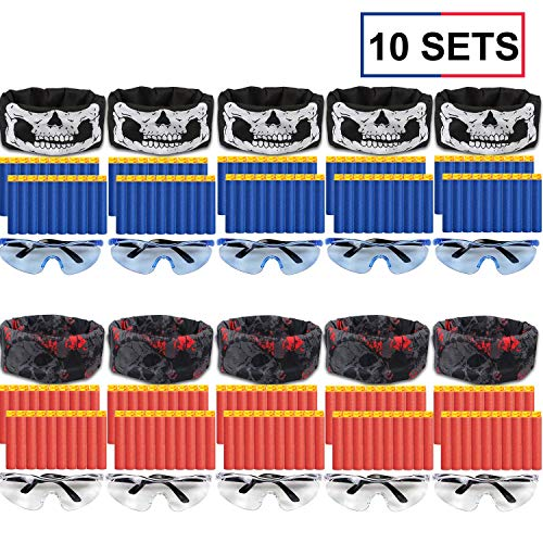 POKONBOY Compatible with Nerf Guns Party Supplies - 10 Sets Blaster Guns Birthday Party Favors Accessories Include Face Mask, Kids Form Darts and Tactical Glasses for 2 Teams