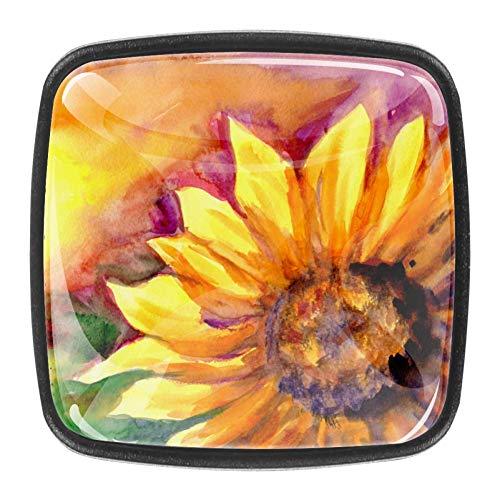 Gemälde Sonnenblumen Schublade Knopf Türgriff 4PCS mit Schrauben für zu Hause