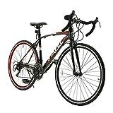 ロードバイク スポーツバイク 700C シマノ14段変速 2WAYブレーキシステム搭載 ドロップハンドル 超軽量高炭素鋼フレーム ライトのプレゼント付き 自転車 01BKRD ブラック*レッド