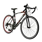 ロードバイク スポーツバイク 700C シマノ14段変速 2WAYブレーキシステム搭載 ドロップハンドル 超軽量高炭素鋼フレーム ライトのプレゼント付き 自転車 01BKRD ブラック レッド