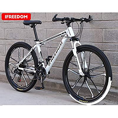 ?US Stock? Adult Mountain Bikes,Alonea Folding 26 Inch Steel Carbon Bike,High Carbon Steel Full Suspension Frame Bicycles,Lightweight 21 Speed ??Gears The Steel V-Brake Mountain Bicycle for Men/Women