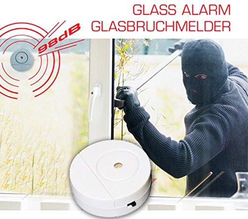 GLASBRUCHMELDER 98dB Glass Alarm Fensteralarm Glasbruchalarm Alarmanlage Sensor