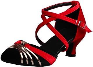 [タオフェン] レディース ファッション クロスストラップ ローヒール ダンス パンプス 小さなサイズ