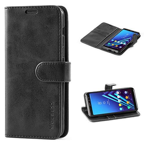 Mulbess Handyhülle für Samsung Galaxy A8 2018 Hülle, Leder Flip Hülle Schutzhülle für Samsung Galaxy A8 2018 Tasche, Schwarz