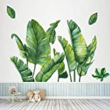 MOLANCIA Palm Tree Wall Decals, Green Potted Wall Art Mural Decor,Monstera Palms Tree Leaf Wallpaper,Removable Tropical Plants Tree Leaves Wall Stickers for Kids Room Living Room TV Background Bedroom