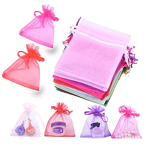 """LYSXP 100 Pcs Organza Bags 3×4 Inches,Sheer Organza Gift Bags with Drawstring, Jewelry Favor Pouches ChristmasCandy Wedding Party Bags (Mixed Color,3""""×4"""")"""