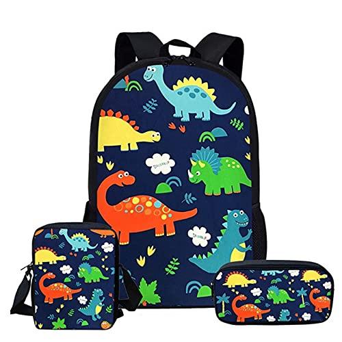 XINKONG Mochila de jardín de infantes de dibujos animados dinosaurios bolsas de escuela para niñas niños mochila 3 unids/set niños libro bolsa mochilas ortopédicos estudiante mochilas