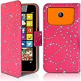 Seluxion-Funda tipo cartera universal S, diseño de diamantes, color rosa con tapa para Nokia Lumia 635