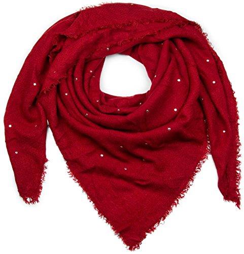 styleBREAKER Damen Feinstrick Viereckstuch mit Nieten und kurzen Fransen am Saum, Winter Schal, großes XL Tuch 01018147, Farbe:Bordeaux-Rot