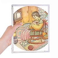 miaoji絵画水彩画の猫のウールのおばあさん 硬質プラスチックルーズリーフノートノート