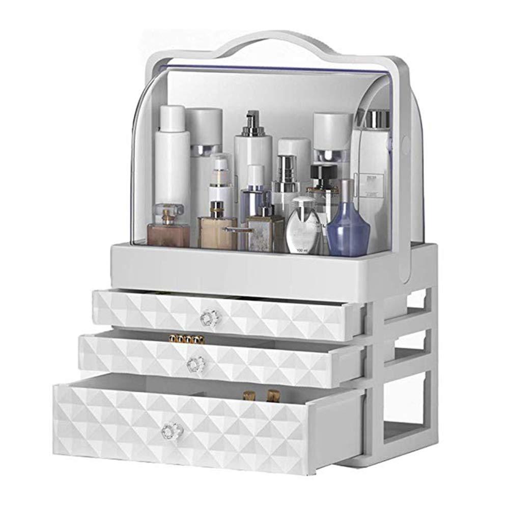Organizador de maquillaje portátil, cajón a prueba de polvo Caja de almacenamiento de cosméticos Cuidado de la piel en el hogar Almacenamiento Cajas de exhibición Estante de tocador,A: Amazon.es: Hogar