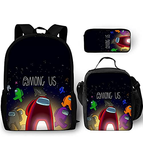 yohica Fashion Cool Student Backpack with Lunch Bag Set for Boys Girls, Casual Student Bookbag School Bags for Kids Schoolbag Game Fans Gifts (3pcs-01)