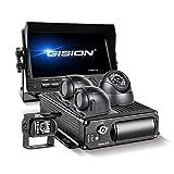 GISION MDVR Kit 4 Canales 1080P Grabador DVR para vehículo móvil con visión Nocturna Cámara de visión Trasera Frontal Impermeable Monitor de 7 Pulgadas para camión, autobús Escolar, Autocaravana