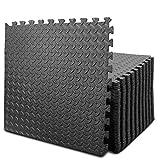 BEAUTYOVO Puzzle Exercise Mat with 12/24 Tiles Interlocking Foam Gym Mats, 24'' x 24'' EVA Foam Floor Tiles, Protective Flooring Mats Interlocking for Gym Equipment (96 Sq.Ft/24 Tiles - All Black)
