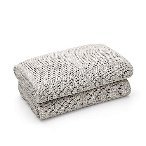 Bloomsbury Mill - Twin Pack - 100% Pure Organic Cotton - Extra Soft Cellular Baby Blankets - Pram/Travel/Moses Basket - Grey