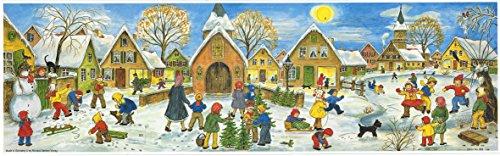 Grote panoramische adventskalender 24 deuren 213 x 650 mm - Sneeuwscène Kinderen sneeuw - met glitter en doorschijnende ramen - RS 263 - traditioneel antiek Duits ontwerp