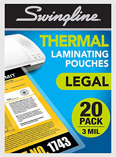 Swingline Thermal Laminating Sheets/Pouches, Legal Size Pouch, 20 Pack...