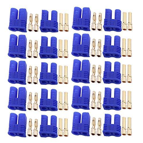 10 Paar EC2 Batterieanschlussstecker, 2mm Bananenstecker Buchse Stecker Rundstecker RC ESC LIPO Batterie Elektromotor Flugzeug Quadcopter Teile DIY