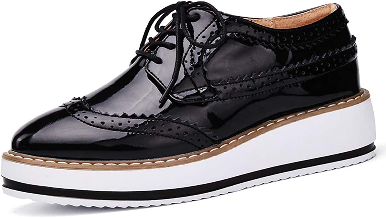 GilesJones Platform Loafers Women,Casual Hollow Lace up Flat Oxford shoes