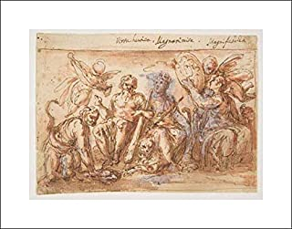 Bernardino Rodriguez (Bernardino Siciliano) - 20x16 Art Print by Museum Prints - Allegorical Figures: Force, Hercules Strangling The Hydra, Plenty, and Fame