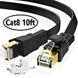 Cat 8 Ethernet Cable 10 ft, High Speed Internet Cable for Xbox PS4, Flat Network Cord with Clips RJ45 Snagless Connector Fast Computer LAN Wire for Gaming, Switch, Router, Coupler, Modem, Black