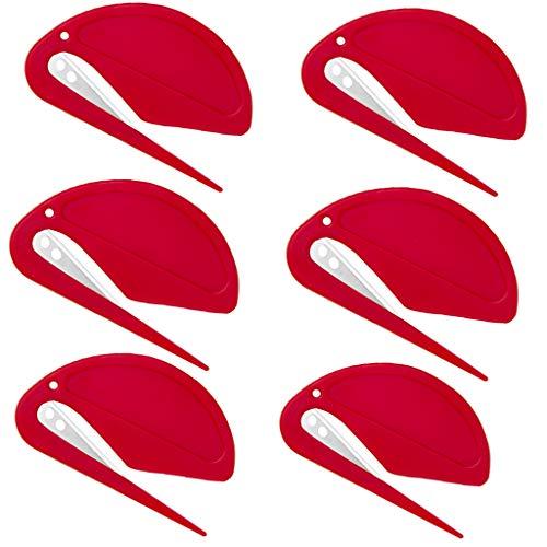 Brieföffner Kunststoff Umschlag Slitter Rasierklinge Papiermesser offen Briefumschläge und Pakete für Home Office 6 Stück Red - 6pcs
