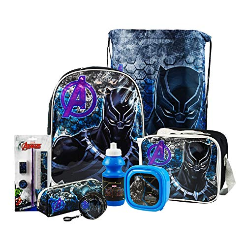 Black Panther 8PC Back to School Bundle - inc Backpack, Drawstring Sports Bag, Insulated Lunch Bag, Sandwich Box, Water Bottle, Coin Pouch, Pencil Case & Stationery Set.