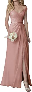 Bridesmaid Dress V Neck Evening Party Dress Slit Bridesmaid Gowns Long Prom