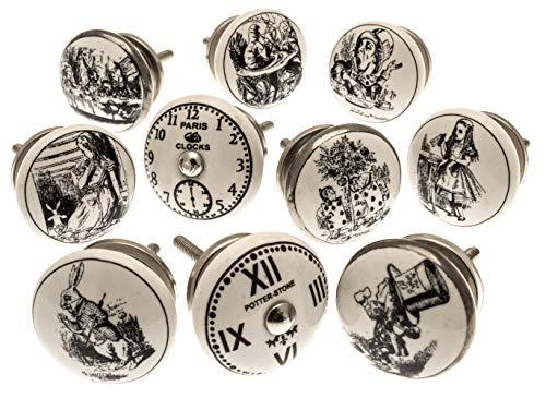 Gemischt Set mit 'Alice im Wunderland - Uhren' schwarz & weiß Keramik Küchenschrank Knauf x 10er packung (MG-262) - 'Vintage-Chic' TM Produkt