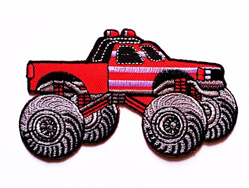 Red Bigfoot Monster Truck Patch Car Logo Patch Cartoon Kid Patch Cartoon Movie Patch Kid Baby Boy Jacket T Shirt Patch Sew Iron On Embroidered Symbol Badge Cloth Sign Costume Wantitall