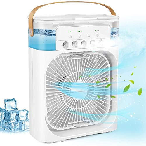Portable Air Conditioner Fan, Air Conditioner Fan with 3 Speeds 7 Colors, Personal Mini Air Humidifier Fan with 3 Spray for Home, Office and Room, Air Cooler Fan