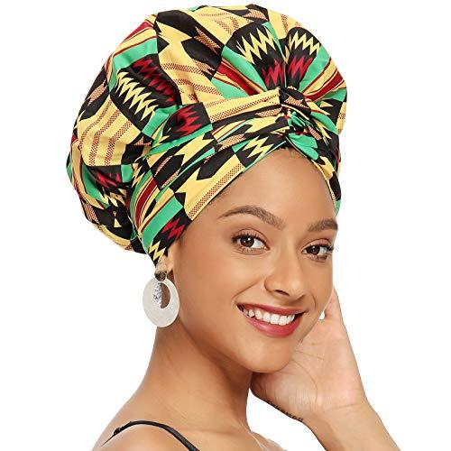 Satin Bonnet for Black Women Satin Lined Headwrap, Silk Bonnet for Curly Hair Bonnet for Sleeping Ankara African Print Head Scarf Head Wrap (Yellow)