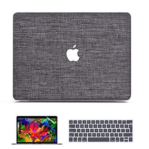 Belk Custodia MacBook Pro 13 M1 2021 2020 2019 2018 2017 2016, Tessuto Plastica Rigida Cover + Copertura della Tastiera + Protezione dello Schermo, Grigio