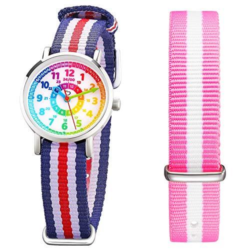 Kinder Armbanduhr Jungen und Mädchen - süße Quarzuhr mit modischem Nylon Armband und Lern-Ziffernblatt - Lernuhr analog, zum Uhrzeit Lernen (pink)