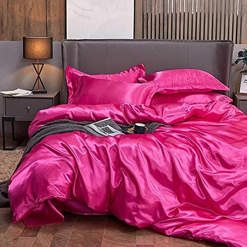 Bedding-LZ -HawniShip Girl Heart Moda Anti-Filamento Personalidad Red Romántico Red Seda Fresco Conjunto de Cuatro Piezas-L_2.0m Cuatro Piezas